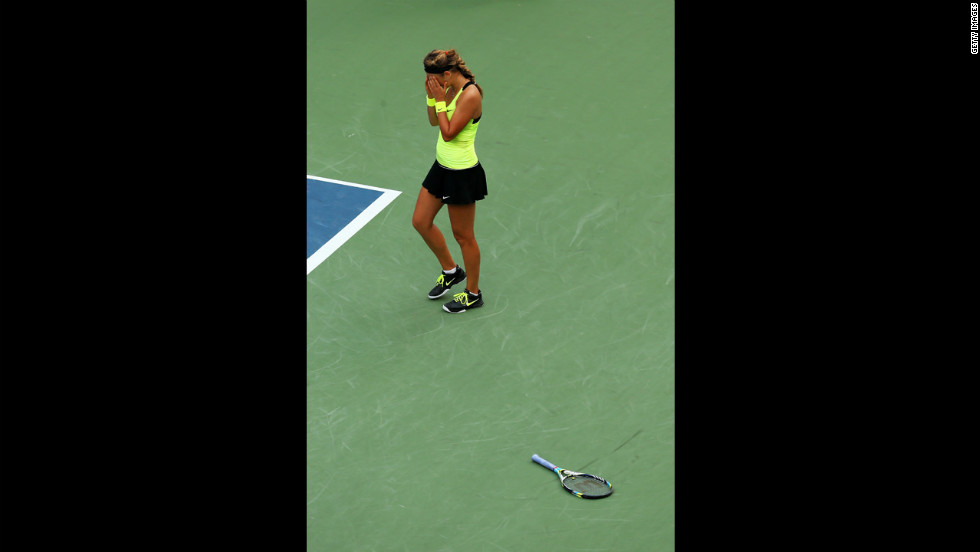 Victoria Azarenka of Belarus celebrates match point against Sharapova on Friday.