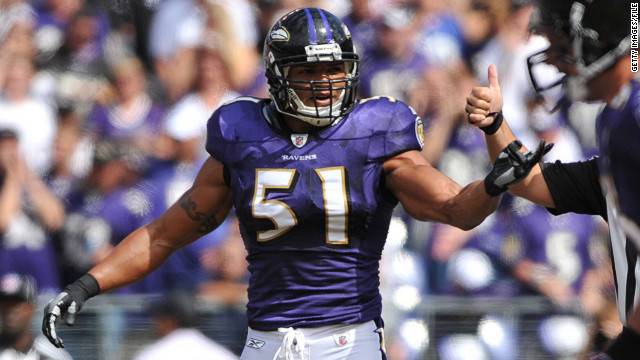 BALTIMORE - SEPTEMBER 27:  Brendon Ayanbadejo #51 of the Baltimore Ravens celebrates a play against the Cleveland Browns at M&T Bank Stadium on September 27, 2009 in Baltimore, Maryland. The Ravens defeated the Browns 34-3. (Photo by Larry French/Getty Images)