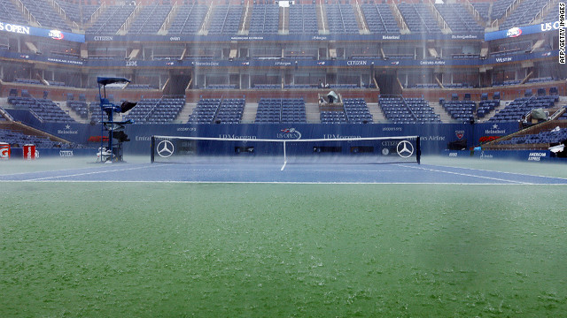 Rain lashed the Arthur Ashe Stadium early on Saturday and is predicted to return later in the day.
