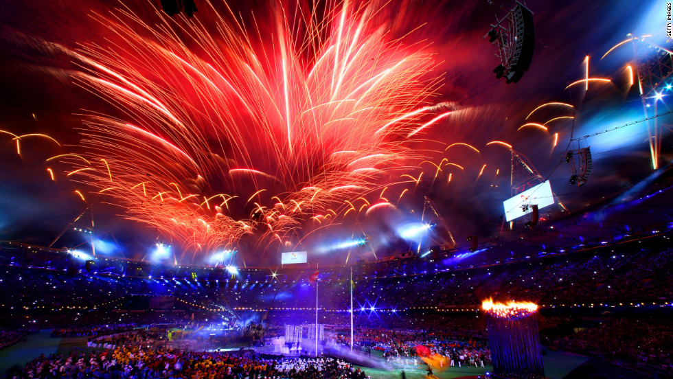 Fireworks light up the stadium.