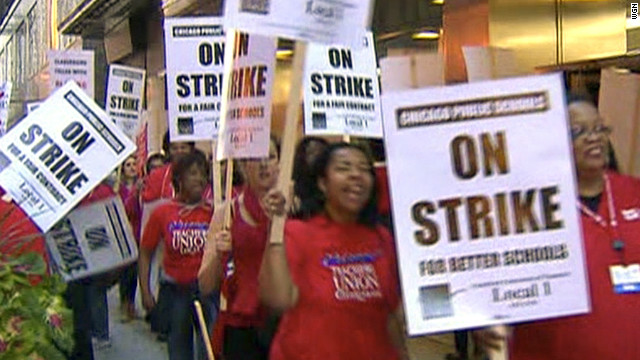 Teachers on strike in Chicago on Monday, September 10.