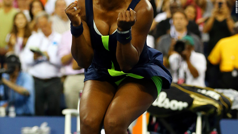 Williams celebrates her win against Azarenka.