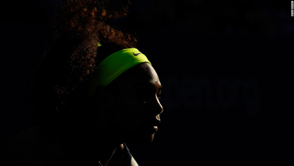 Williams looks on during the women's singles final match.