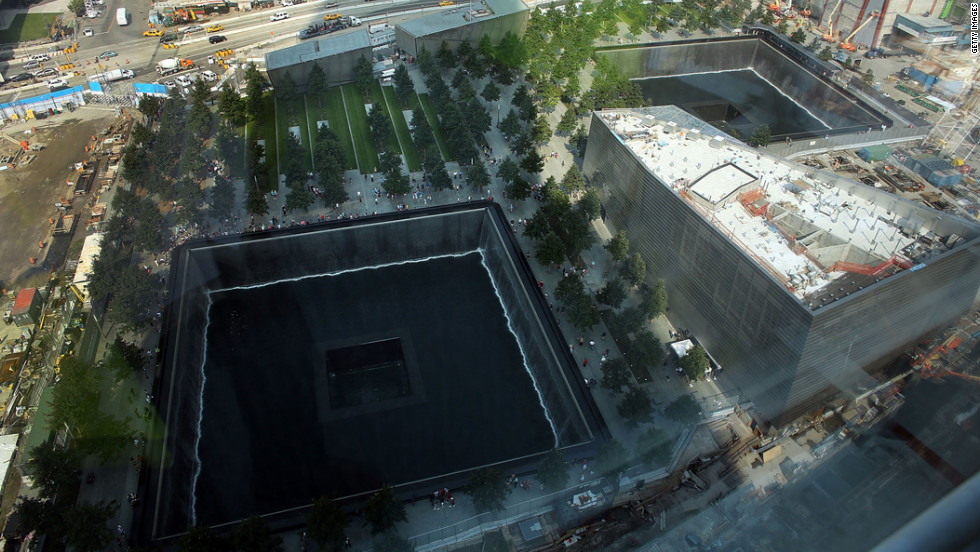 The reflecting pool at the National September 11 Memorial & Museum is viewed on Friday.