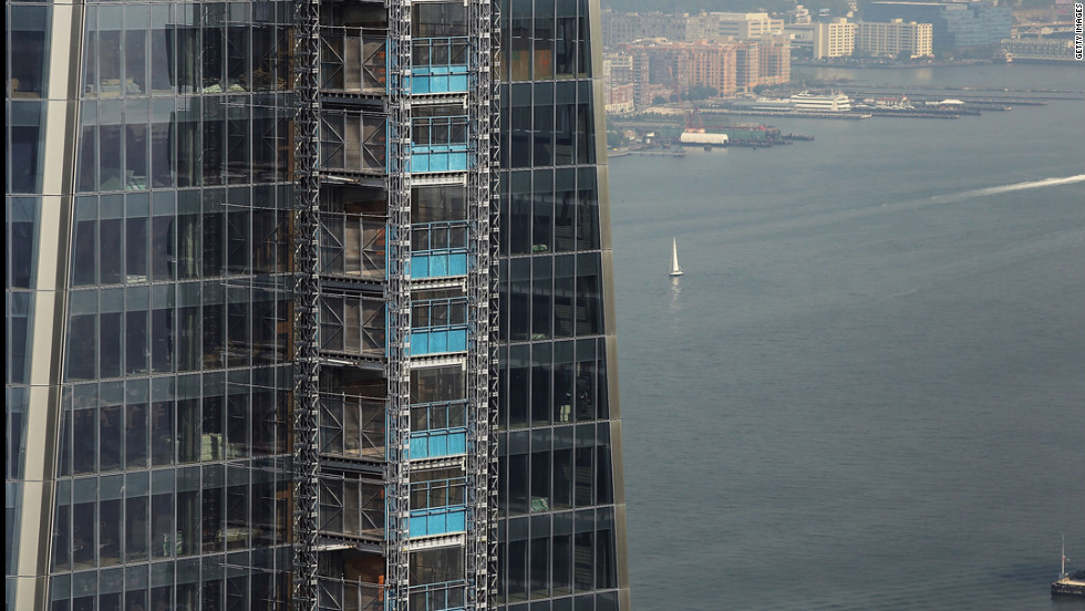 A view of One World Trade Center from the 72nd floor of Four World Trade Center on Friday.