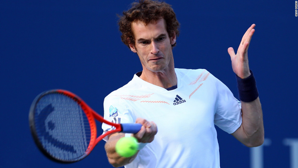 Andy Murray of Great Britain returns a shot during his men's singles final match against Novak Djokovic of Serbia on Monday.