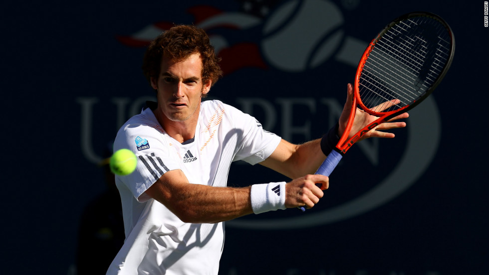 Andy Murray of Great Britain returns a shot against Novak Djokovic of Serbia on Monday.