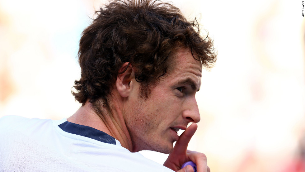 Andy Murray looks on during a break in his men's singles final match against Novak Djokovic on Monday.