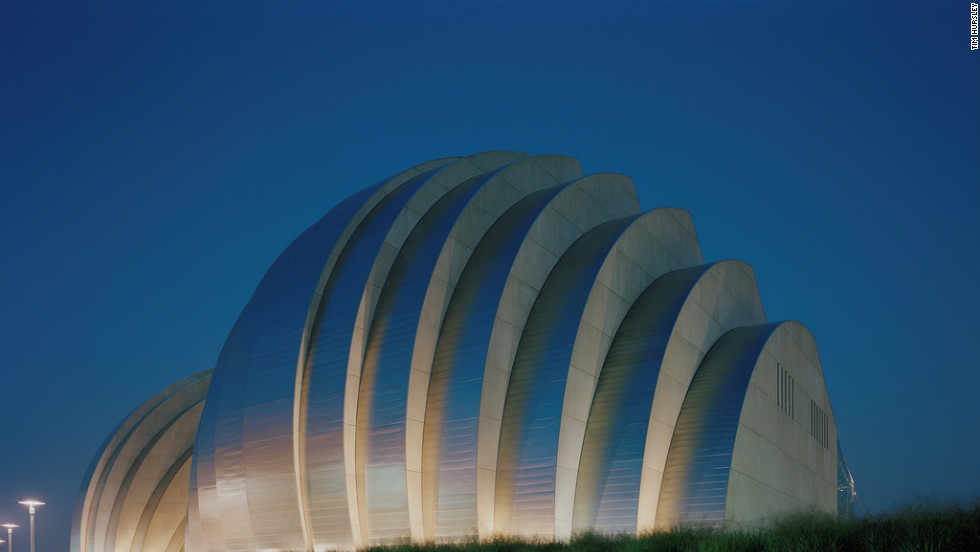 "Moshe Safdie, the architect behind Kansas City's Muriel Kauffman Theatre, has described the building as ""festive and exuberant."" 1601 Broadway; 816-994-7200; kauffmancenter.org."