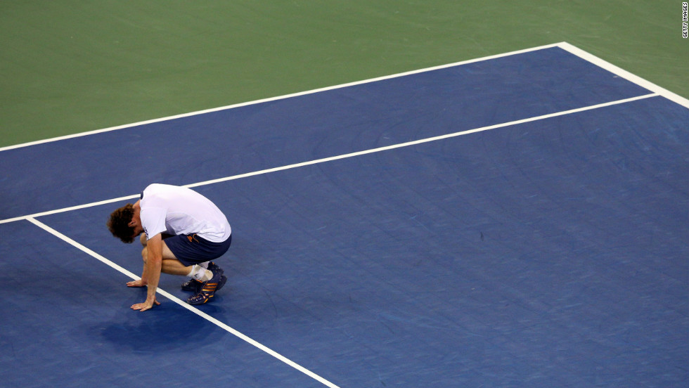 Andy Murray of Great Britain reacts after defeating Novak Djokovic of Serbia in the men's singles final match on Monday.