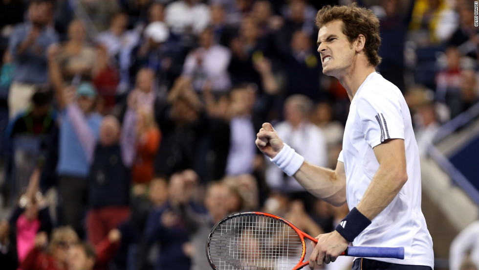 Andy Murray celebrates after gaining a point against Novak Djokovic on Monday.