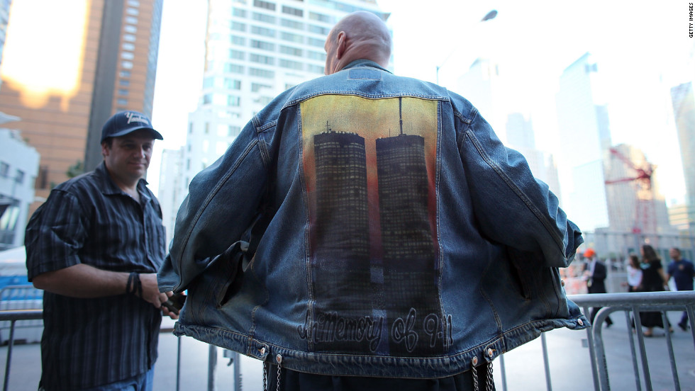 David Peters displays his jacket depicting the Twin Towers at the World Trade Center site.