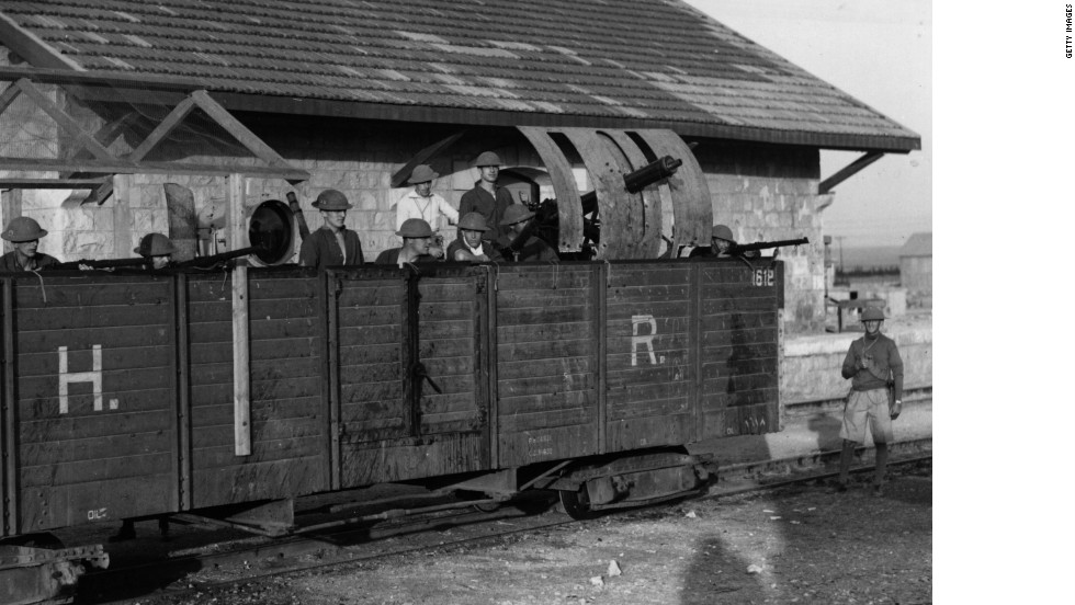 April 19, 1936, marks the first day of the Great Uprising in Palestine. Begun as a general strike, the protest against Jewish immigration into Palestine -- and for national independence -- led to British troops, such as those pictured manning an armored train, being sent to keep order.