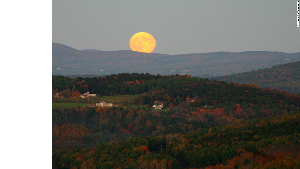 This fall view of the moon rising over Blake Hill is seen from South Peak in Marsh-Billings-Rockefeller National Historical Park in Woodstock, Vermont.