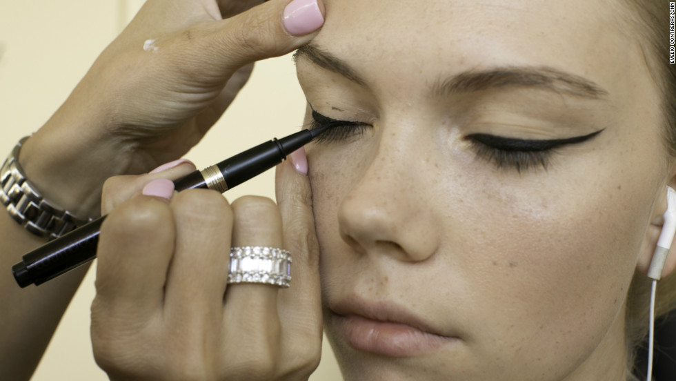 """Robert Greene, the Lead Makeup Artist for the Pamella Roland presentation, said his one tip for liquid liner is to practice. """"The only thing with liquid liners is that everybody's eye shape is different so you really want to practice on that one shape of your eye,"""" he said. """"It's not angled, it's elongating the eye. It's really about working with the eye shape."""""""