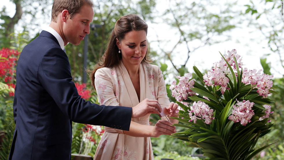 The royal couple also had an orchid named after them in Singapore on the first stop of a nine-day Southeast Asia tour.