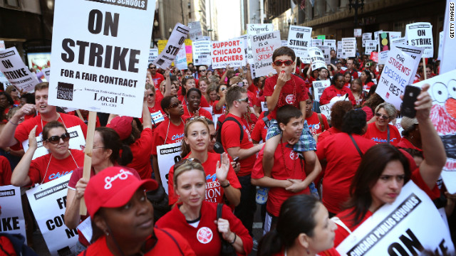 Chicago public school teachers and their supporters rally at the school district's headquarters earlier this week.