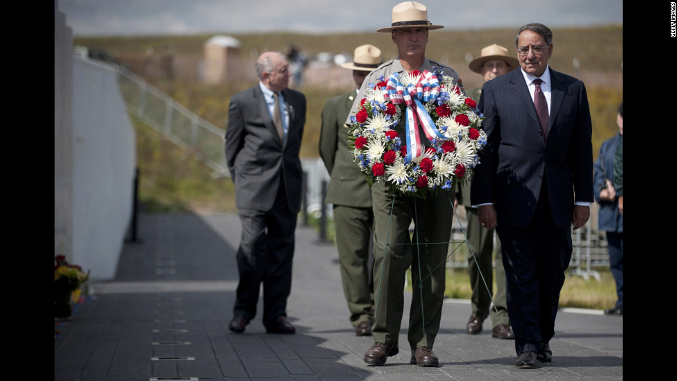 U.S. Secretary of Defense Leon Panetta, right, participates in a wreath-laying ceremony in Shanksville.