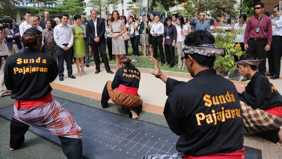 Catherine and Prince William watch a performance by the Sunda Pajajaran group on Wednesday.