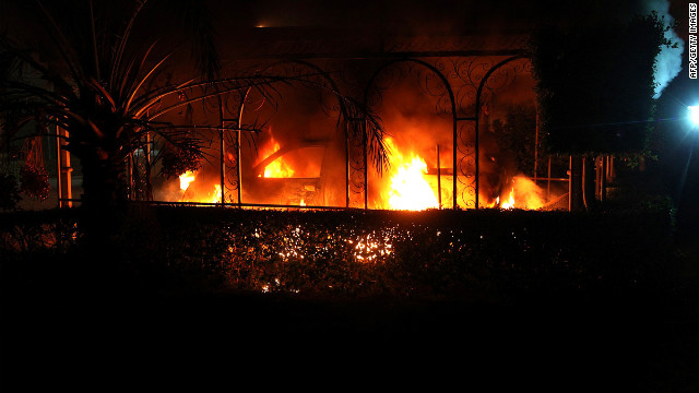 A vehicle burns during the attack on Tuesday.
