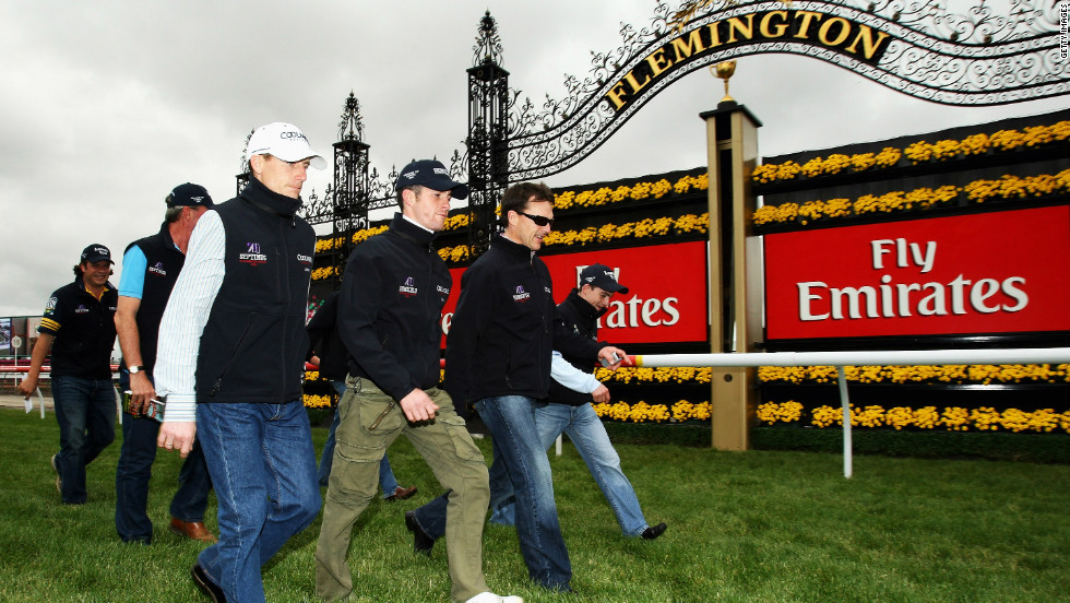 Team Ballydoyle inspect the track at Melbourne Cup's Flemington Racecourse. The Ballydoyle stables in Ireland were also home to Nijinksy -- the last Triple Crown winner.