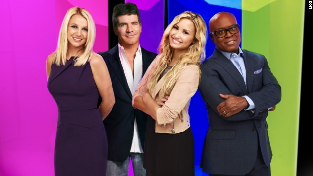"Britney Spears, Simon Cowell, Demi Lovato, and L.A. Reid are judges this season on ""The X Factor."""