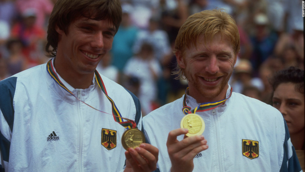 The smiles belie an intense rivalry as Michael Stich (left) and Boris Becker win gold for Germany at the 1992 Olympic Games in Barcelona.