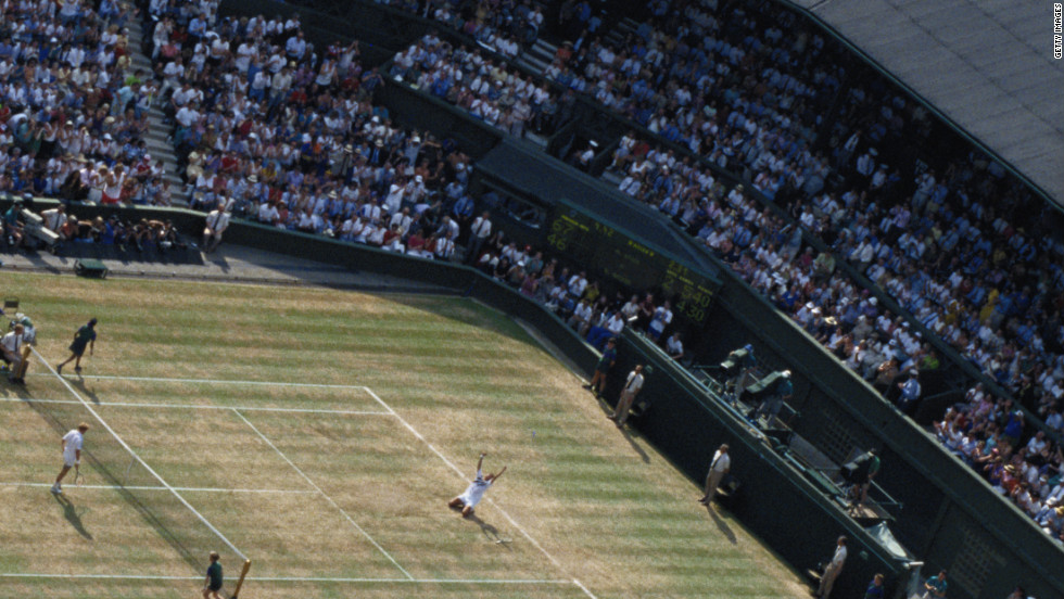 Michael Stich celebrates after beating Becker in the first all-German men's final at Wimbledon in 1991, ratcheting up an intensifying battle between the pair which lasted until their retirements in the late 1990s.