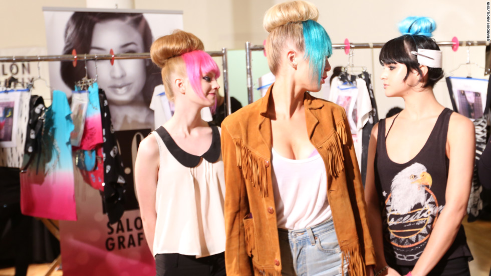 "Models line up for a practice walk at Avril Lavigne's ""Abbey Dawn"" runway show."