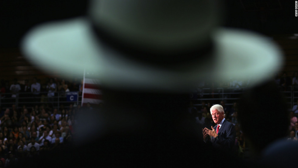 Former President Bill Clinton speaks in support of Obama during a campaign stop in Miami on Tuesday, September 11.