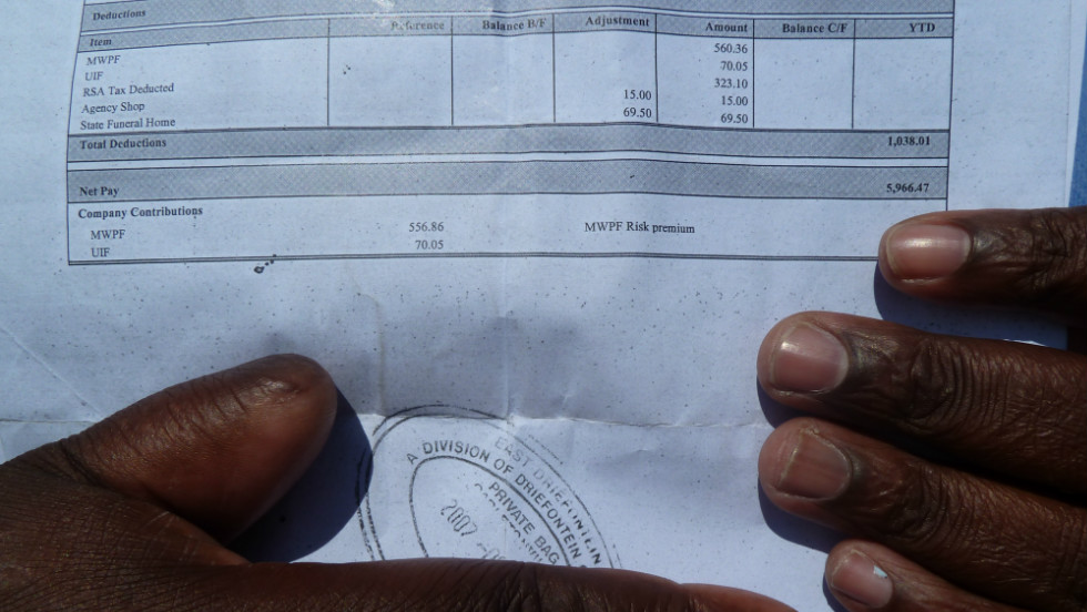 A pay slip reveals how much South African miners are paid to risk their lives