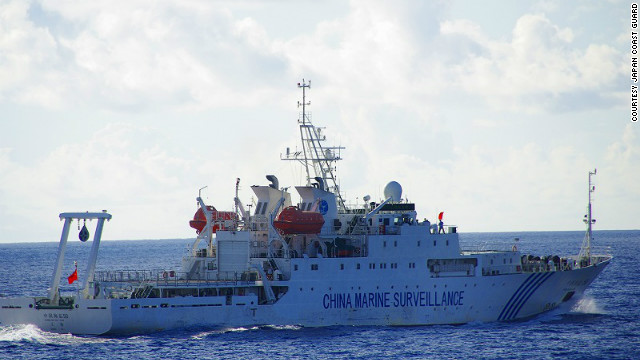 A Chinese maritime surveillance ship is shown Friday 18 km (11 miles), according to the Japan Coast Guard, off islands disputed by Japan and China.