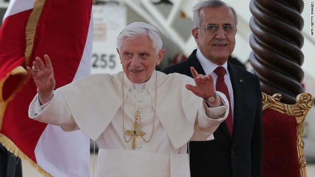 Pope Benedict XVI is welcomed at Beirut's Rafiq Hariri International Airport on September 14, 2012 in Lebanon.