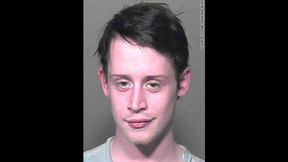 "The Oklahoma County, Oklahoma, Sheriff's office took this mug shot of ""Home Alone"" star Macaulay Culkin in 2004 after they found marijuana, Xanax and sleeping pills in his possession. He was briefly jailed before being released on bail."