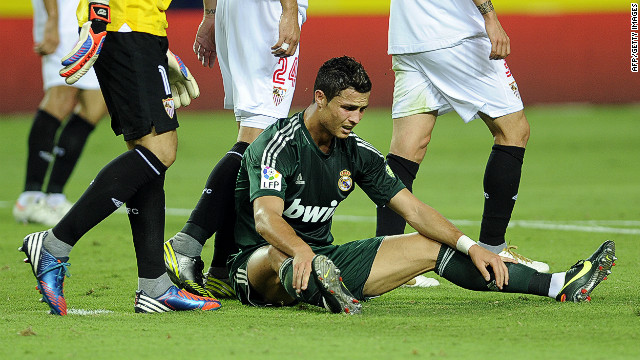 Cristiano Ronaldo cuts a dejected figure during Real Madrid's game against Sevilla on Saturday
