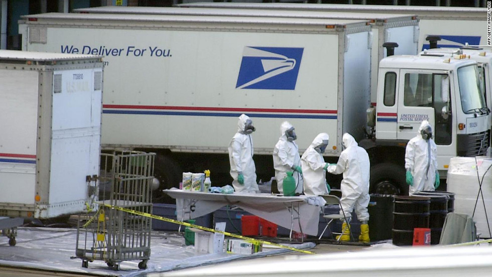 Letters written with jihadist language and laced with deadly anthrax spores were sent via U.S. mail to members of the news media and Congress in the weeks following the September 11 attacks on New York City and the Pentagon.  Five people were killed and 17 others were sickened by exposure to the letters. The FBI eventually blamed the attacks on a civilian scientist at the Army's biological research laboratory at Fort Detrick, Maryland. The suspect, microbiologist Bruce Ivins, had a history of mental illness and killed himself in 2008 before investigators brought charges against him, federal prosecutors said.