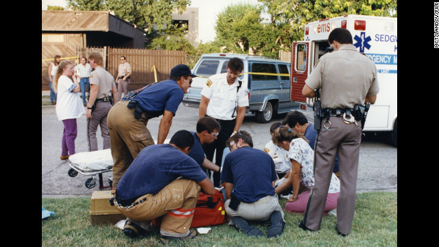 Pararmedics work on George Tiller after he was shot outside his clinic in 1993.