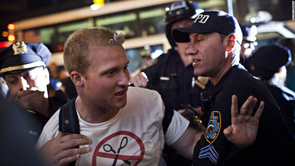 A member of Occupy Wall Street is arrested during a march from Washington Square Park to the financial district on Saturday.