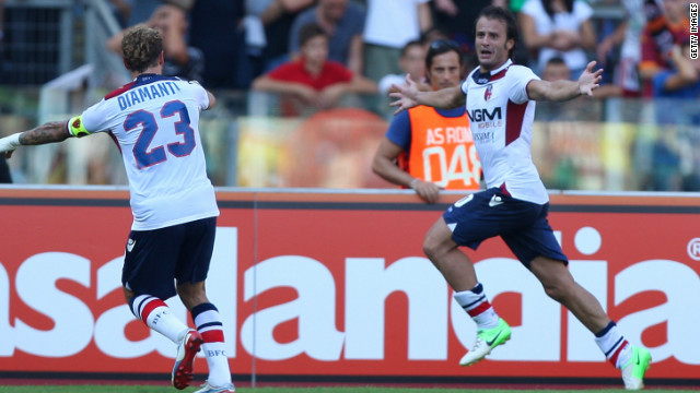 A brace from Alberto Gilardino (right) and a goal from Alessandro Diamanti (left) gave Bologna a win.
