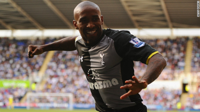 Striker Jermain Defoe celebrates his second goal in Tottenham's 3-0 win against Reading.