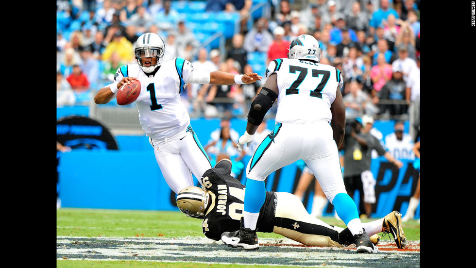 Cameron Jordan of the New Orleans Saints sacks quarterback Cam Newton of the Carolina Panthers on Sunday.