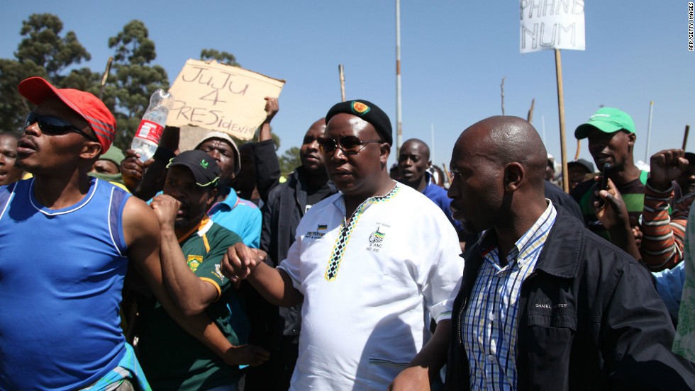 Malema arrives at the Gold Fields Driefontein mine in Carletonville, west of Johannesburg on September 11. He has called on workers to strike for five days every month until bosses bow to a 12,500 rand (1,526 US dollar) basic salary demand.