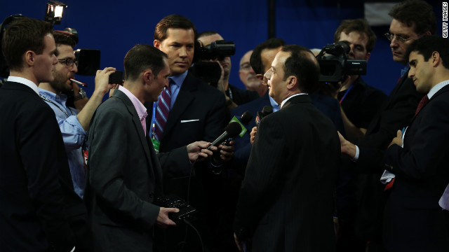 RNC Chairman Reince Priebus surrounded by all male reporters ahead of the Republican National Convention last month.