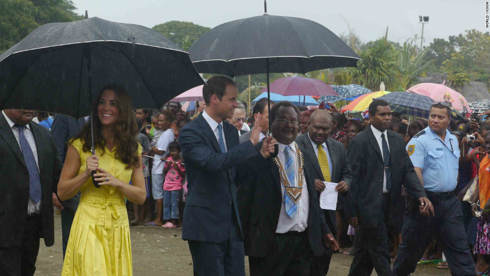 The Duke and Duchess of Cambridge learn more about poverty and village life in the Solomon Islands. <br />
