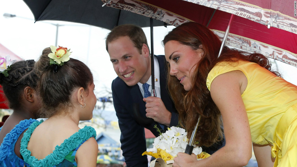 Prince William and Catherine, Duchess of Cambridge, meet young well-wishers during a visit to the Coast Watcher and Solomon Scouts Memorial on Day Seven of their Diamond Jubilee Tour in Honiara, Solomon Islands, on Monday.