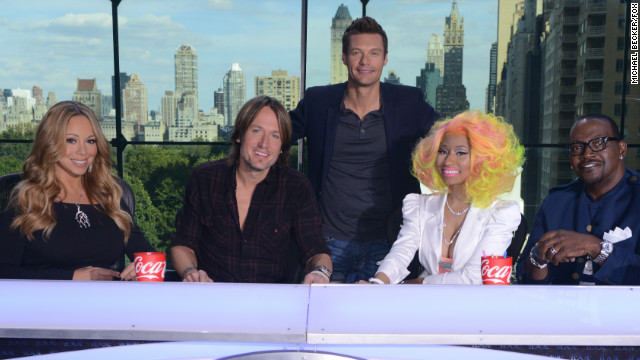 "From left, Mariah Carey, Keith Urban, Nicki Minaj and Randy Jackson will judge the 12th season of ""American Idol"" with host Ryan Seacrest."