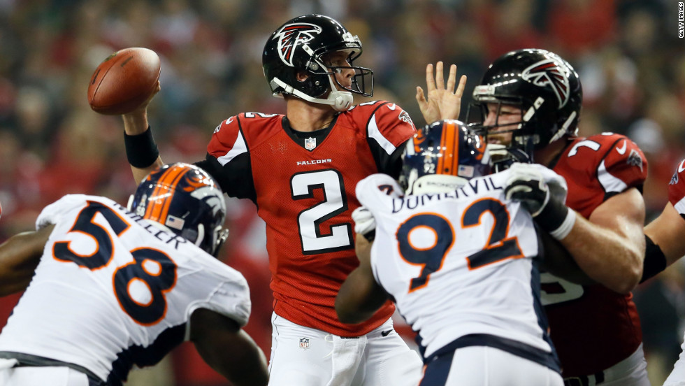 "Atlanta Falcons quarterback Matt Ryan looks to throw the ball during the game against the Denver Broncos at the Georgia Dome in Atlanta on Monday, September 17. Check out the action from Week 2 of the 2012 National Football League season, and <a href=""http://www.cnn.com/2012/09/09/worldsport/gallery/nfl-week-1/index.html"">look back at the best of Week 1</a>."