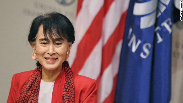 Myanmar's Member of Parliament and democracy icon Aung San Suu Kyi speaks at the U.S. Institute of Peace September 18, 2012 in Washington.