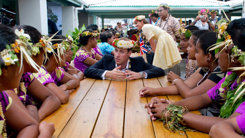 The duke and duchess visit the University of the South Pacific in Tuvalu on Tuesday.