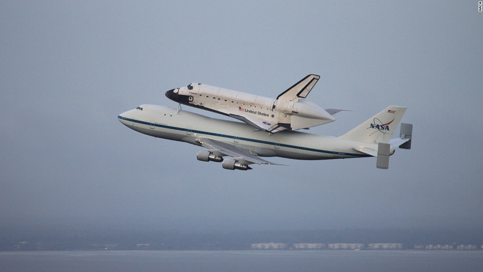The space shuttle Endeavour is transported from the Kennedy Space Center in Florida on Wednesday.